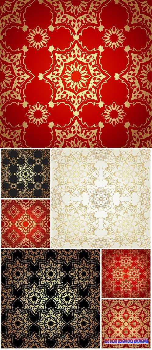 Vector backgrounds with golden vintage pattern, texture