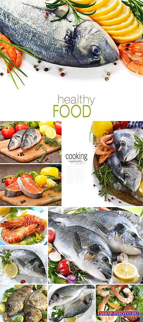 Fish and seafood dishes - stock photos