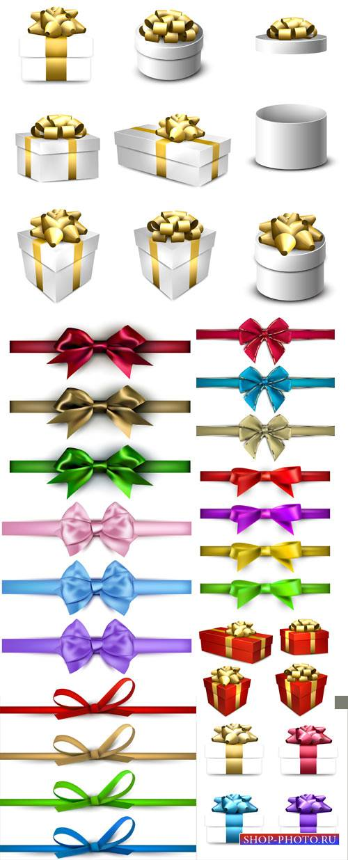 Gift boxes, ribbons and bows vector