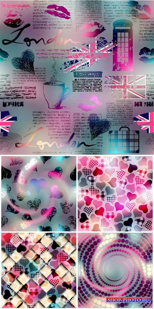 Vector backgrounds with hearts, romantic backgrounds