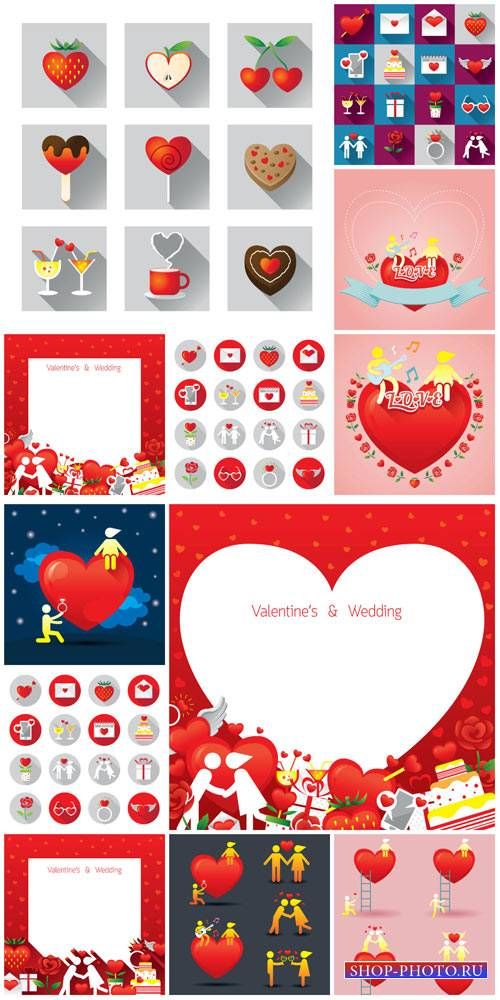 Valentine's Day, vector backgrounds and icons