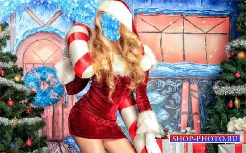 Шаблон psd женский - Снегурочка с подарками