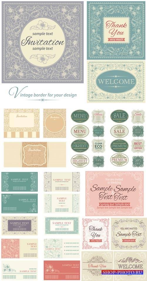 Invitation in vector vintage labels