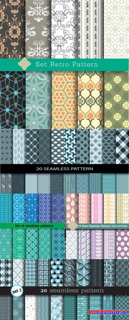 Seamless texture with different patterns, vector backgrounds