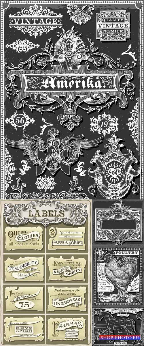 Vintage vector elements, label