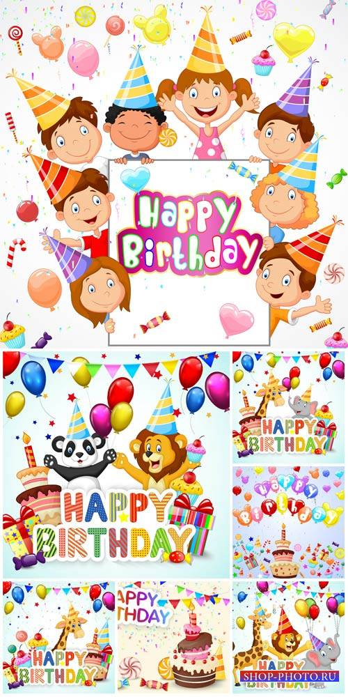 Happy birthday, vector backgrounds with children and animals