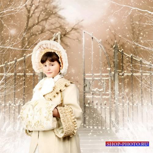 Шаблон  детский - Снег усеял дорожки в саду