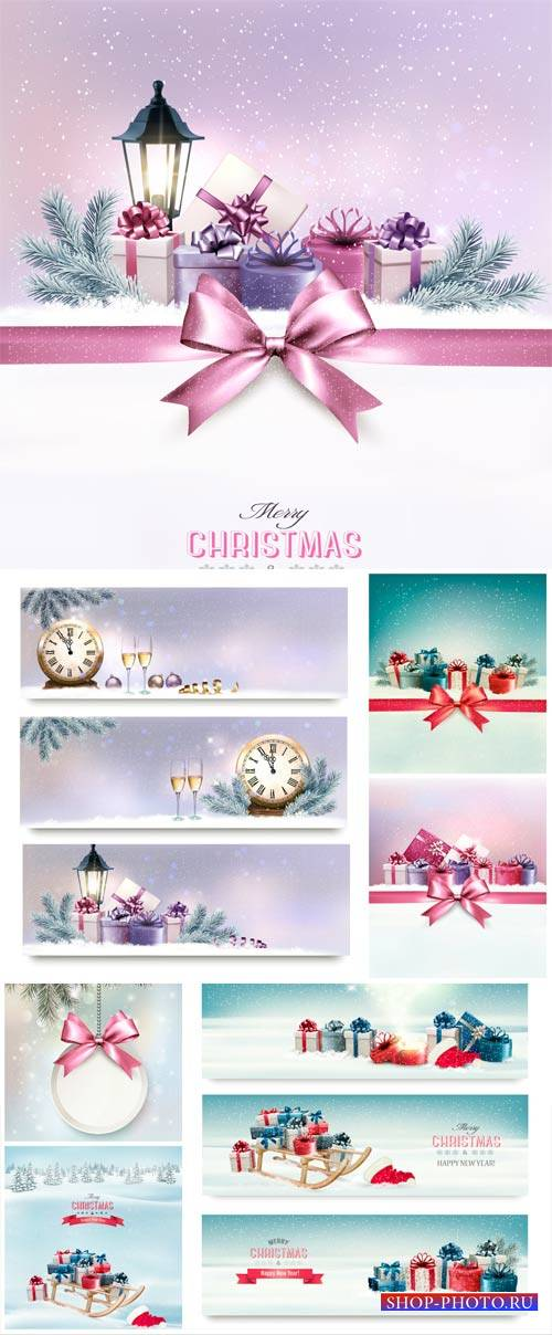 Christmas and New Year, vector backgrounds with chimes and champagne