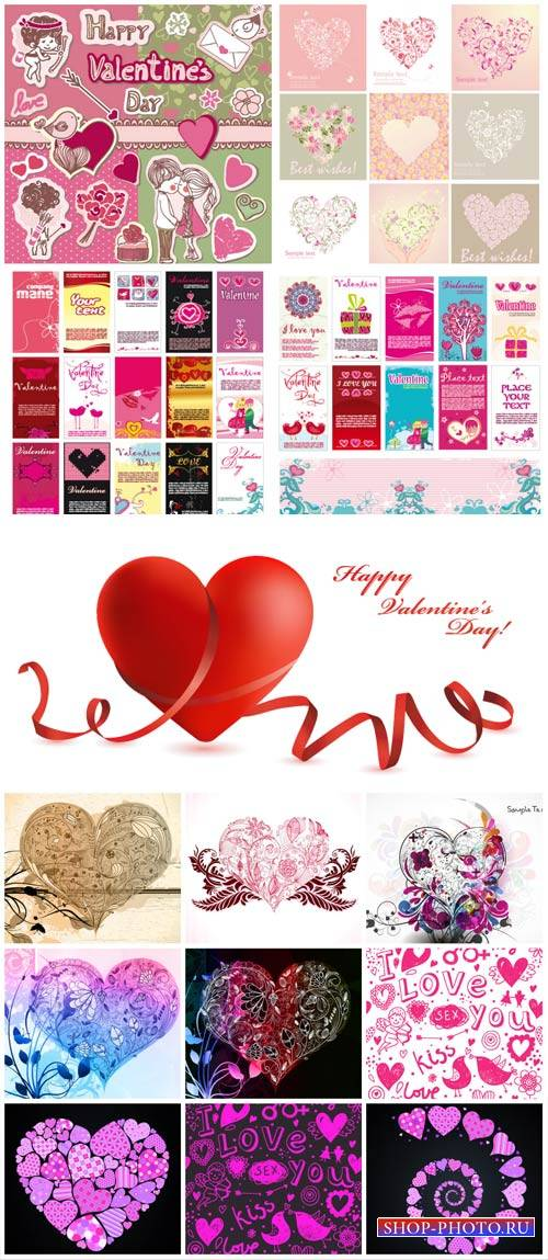 Valentine's Day, angels and hearts vector
