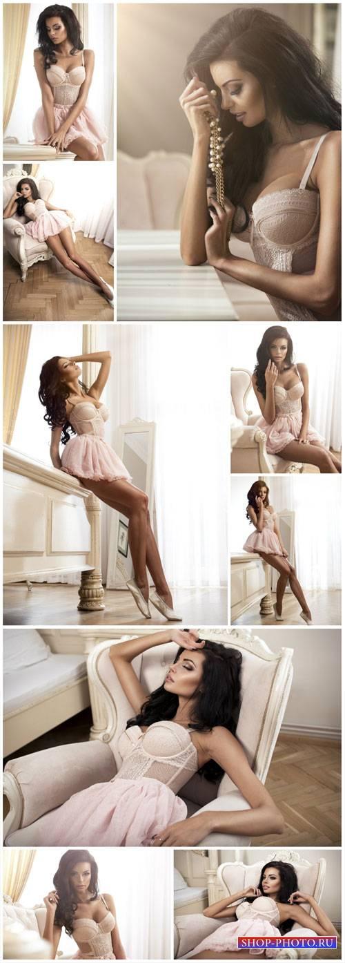 Beautiful girl in peignoir - Stock photo