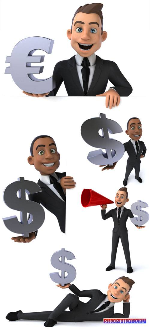 Men with monetary elements - stock photos