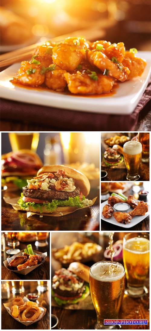 Delicious food and beer, chicken - stock photos