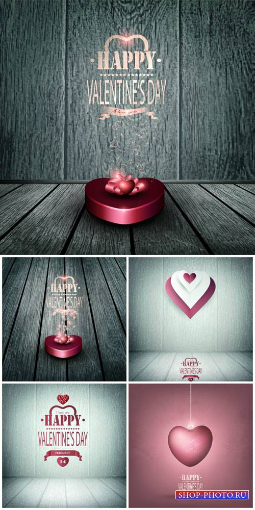 Valentine's Day, hearts, vector backgrounds