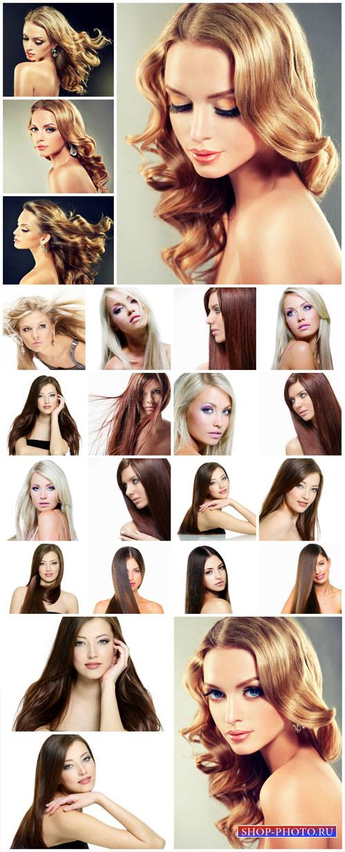 Fashionable girls, beautiful hairstyles, makeup - stock photos