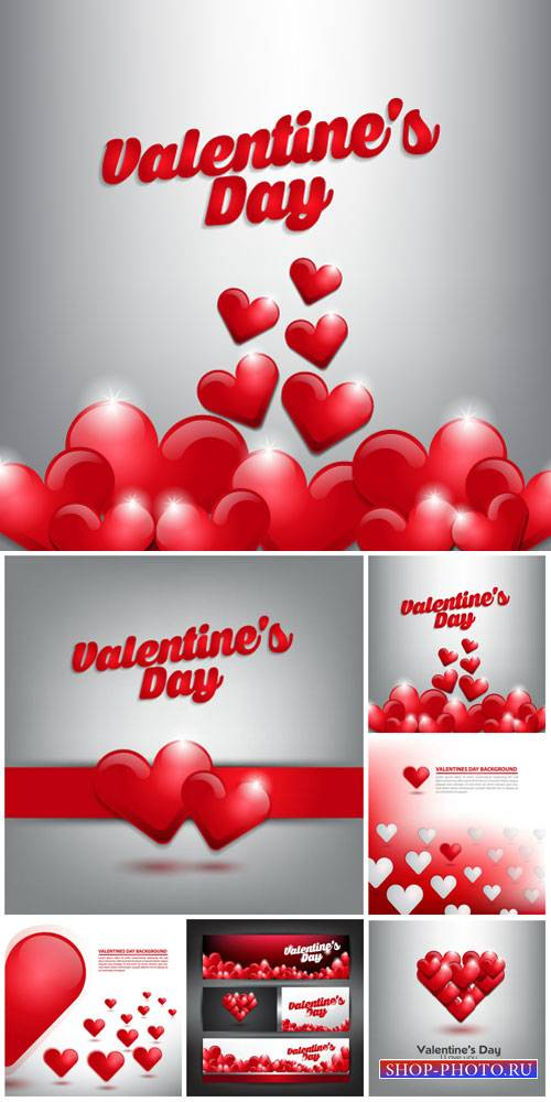 Valentine's Day, silver vector background with hearts