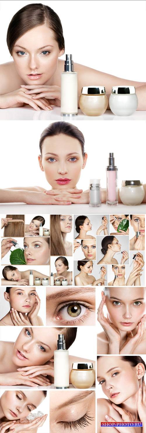 Girls and cosmetics, body care - stock photos