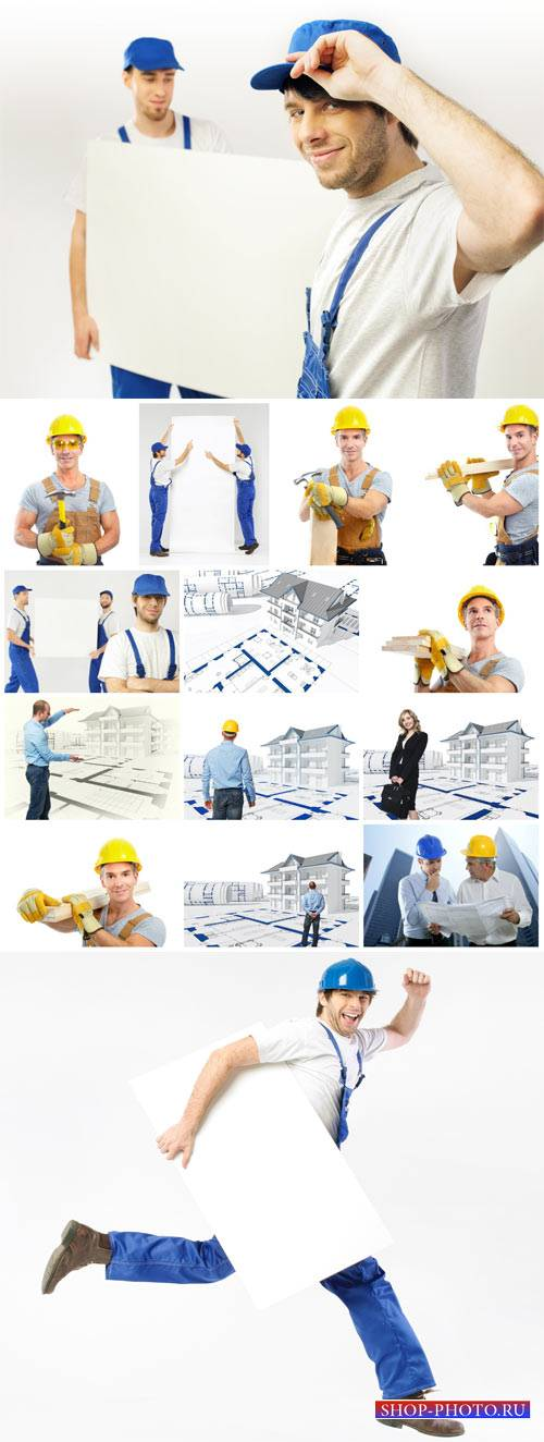 Men, workers, builders - stock photos