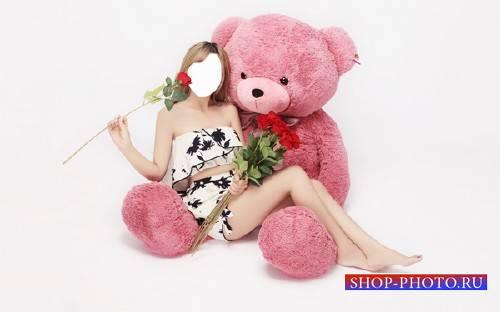 Шаблон для девушек - С цветком на розовом медведе