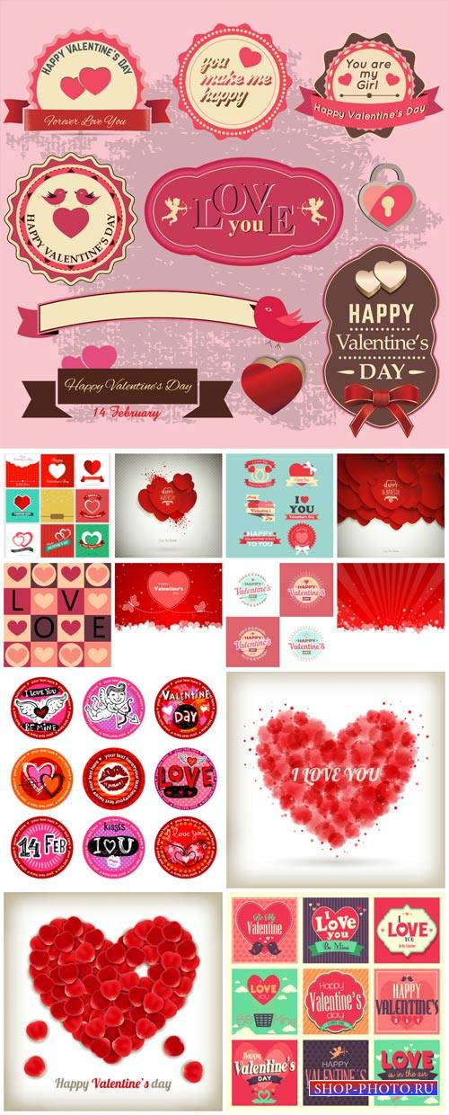 Valentine's Day, backgrounds, banners, hearts, vector # 2