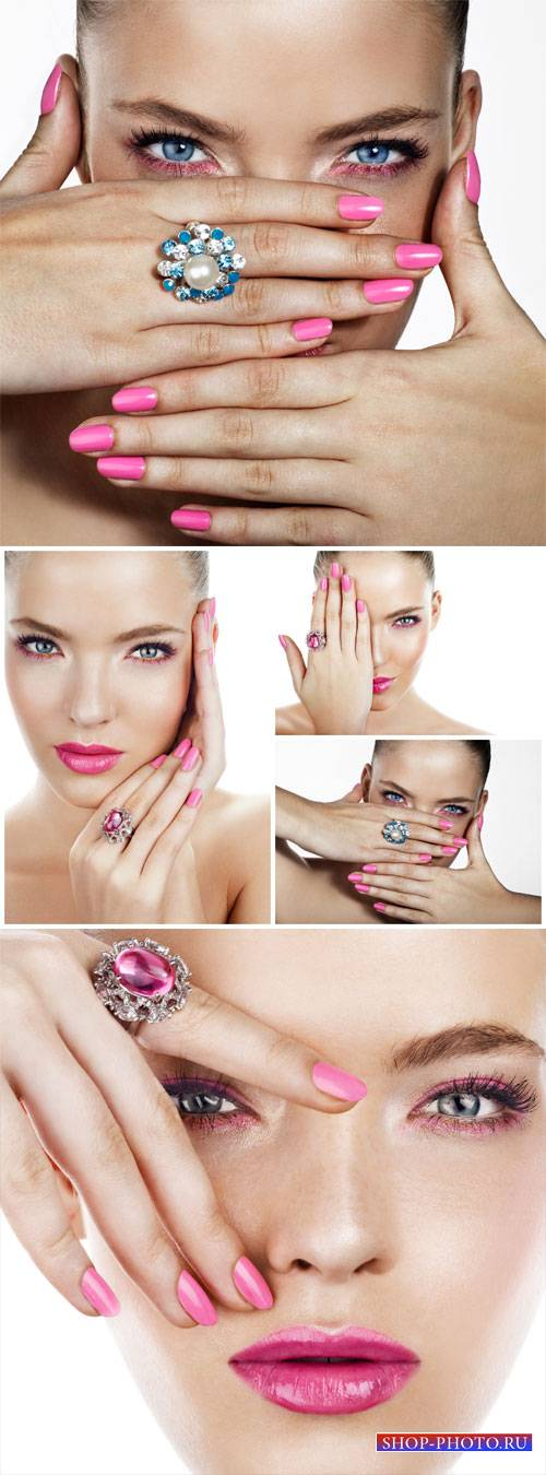 Fashionable girl, manicure, ring with stone - stock photos
