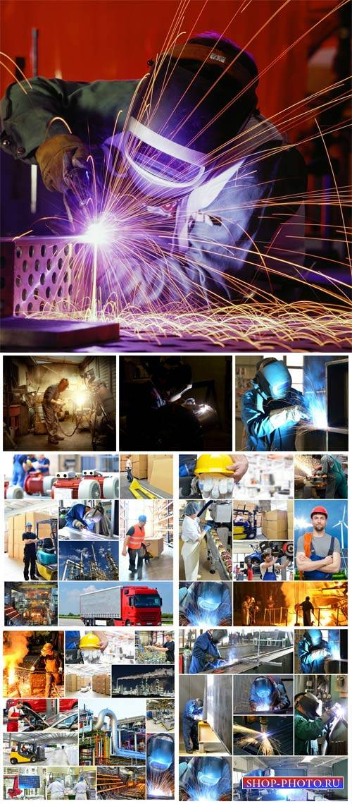 Welder, working in the production - stock photos