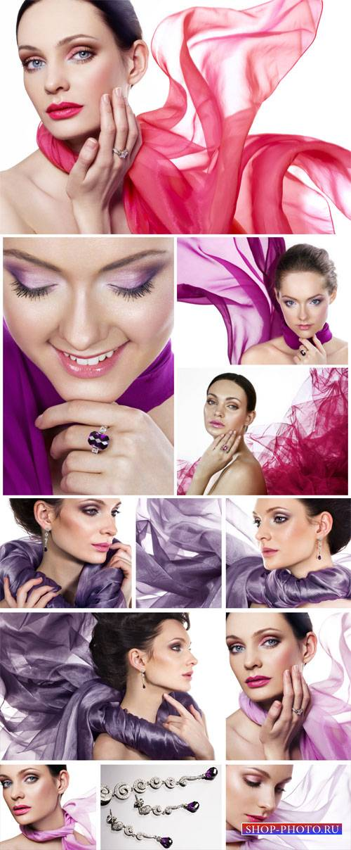 Beautiful girl in shawls - stock photos