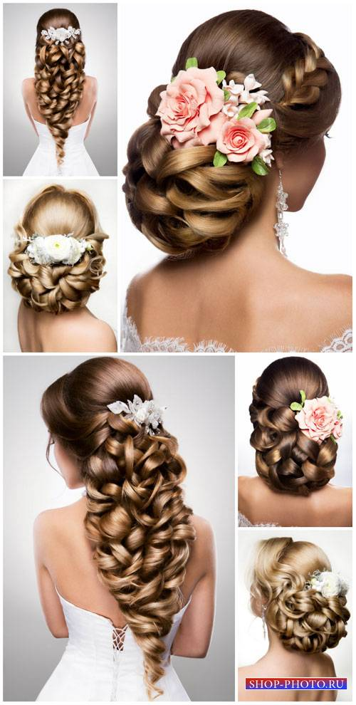 Beautiful female hairstyles, wedding hairstyles - stock photos