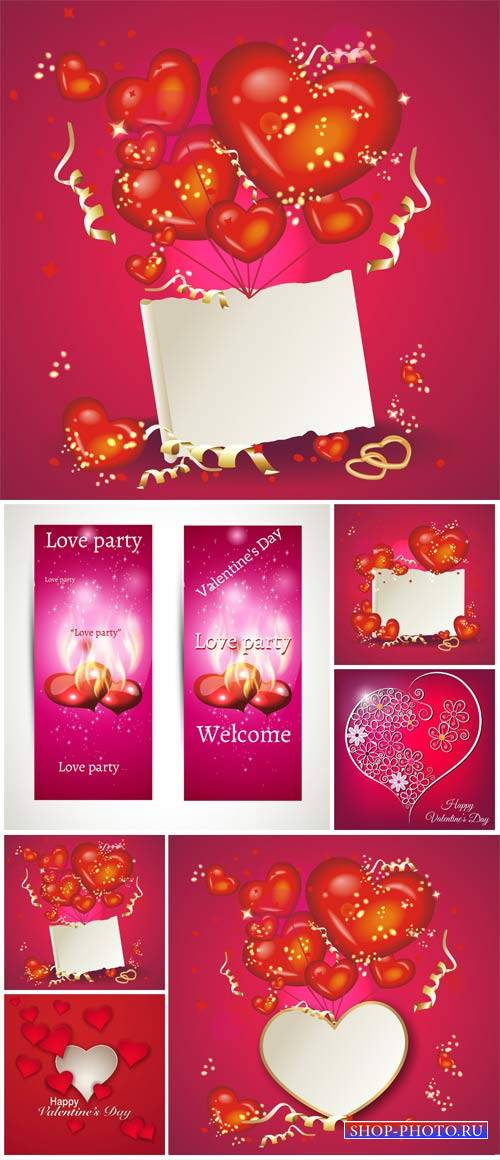 Valentine's Day, backgrounds, banners, hearts, vector # 7