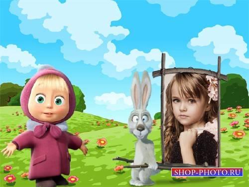 Рамка для детей - Маша и зайчик на полянке