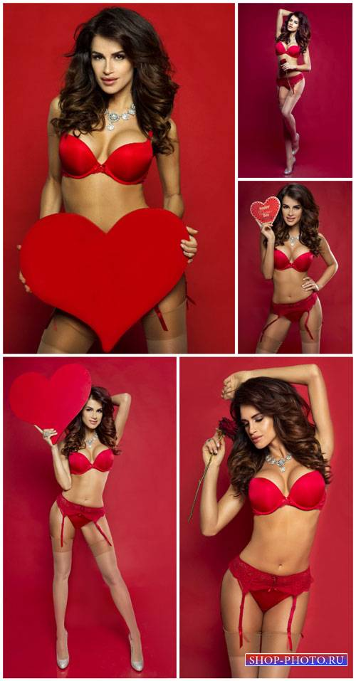 Girl with heart, beautiful lingerie - stock photos