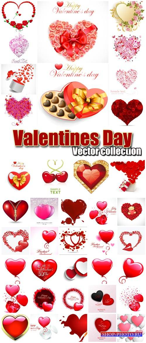 Valentine's Day romantic backgrounds, vector hearts # 14