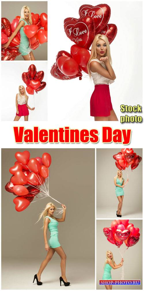 Girl with balloons, Valentine's Day - stock photos