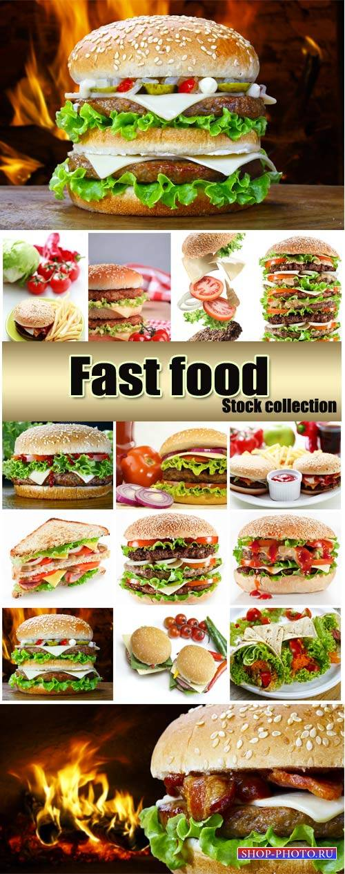 Fast food, hamburger - Stock photo