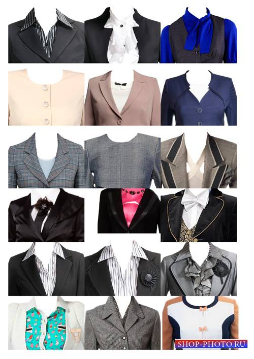 Шаблоны для фотошопа  - Женские костюмы для фото на документы 2