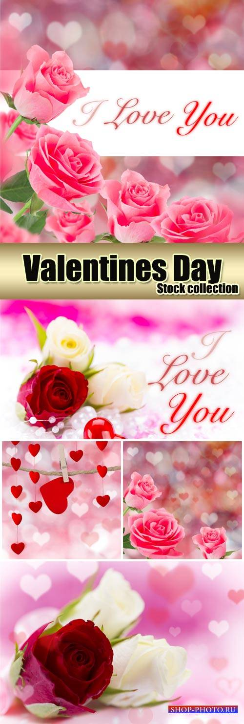 Romantic background with pink roses and hearts - stock photos