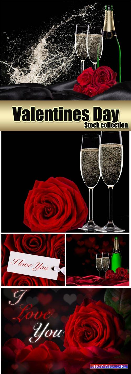Champagne and roses, romantic stock photos Valentine's Day