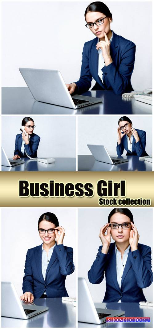 Business woman with a laptop - Stock Photo