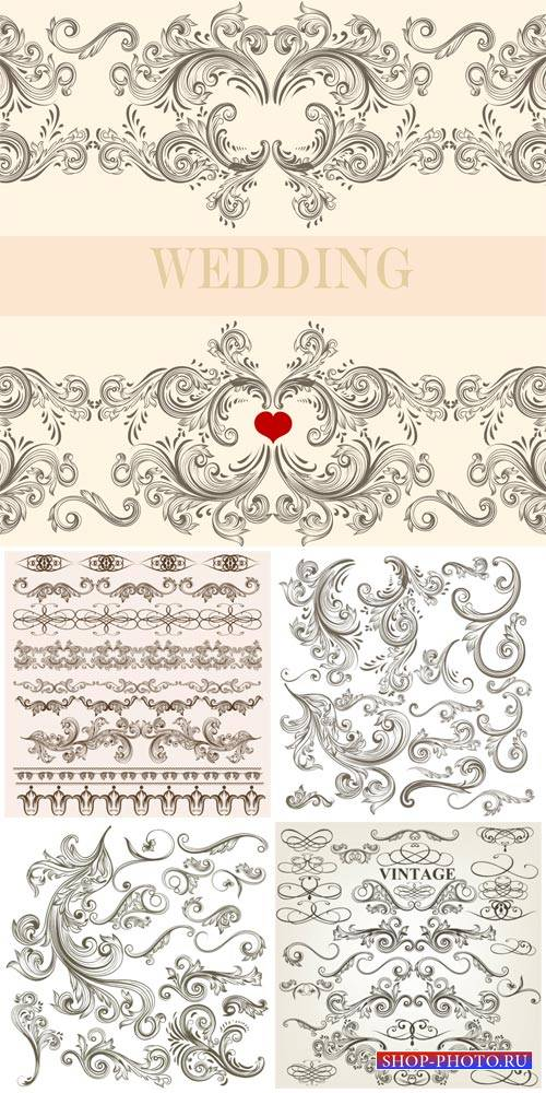Wedding invitations, vintage decorative elements vector