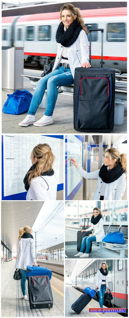 Girl at the train station, travel - stock photos