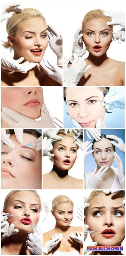 Cosmetic procedures, botox injections - stock photos