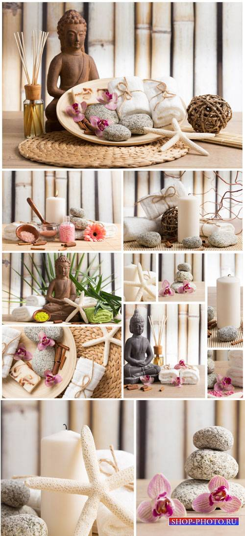 Spa backgrounds, buddha and spa stones - stock photos
