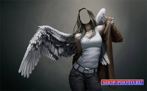 Девушка ангел с крыльями - Шаблон для фото