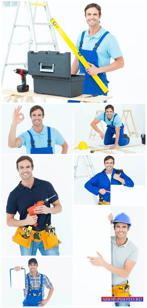 Man and reconstruction works - stock photos