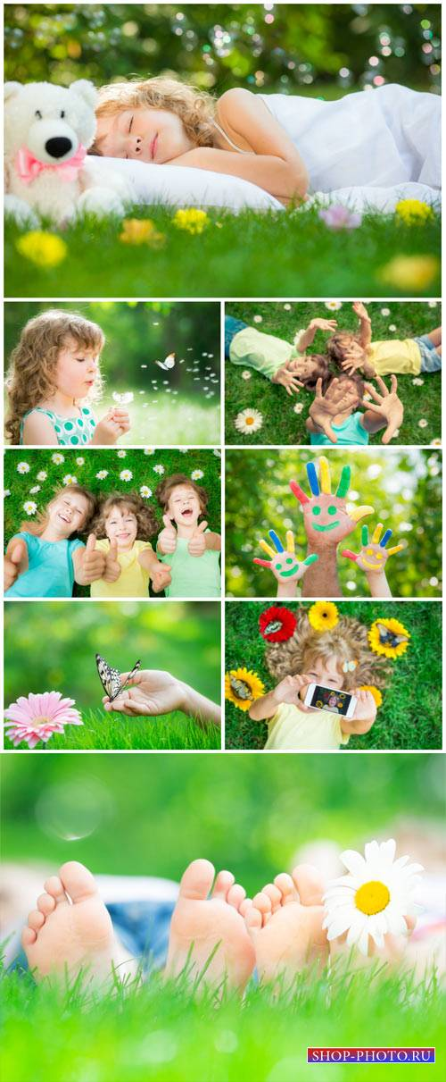 Happy children in nature, boys and girls - stock photos