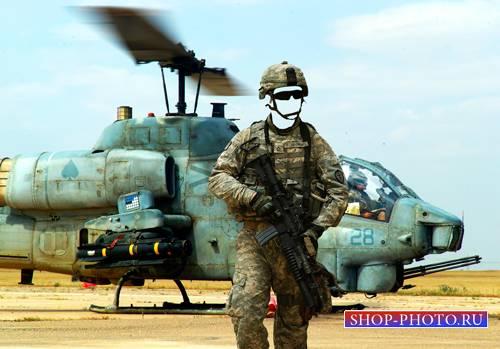 Шаблон для фотошопа  - Солдат у вертолета