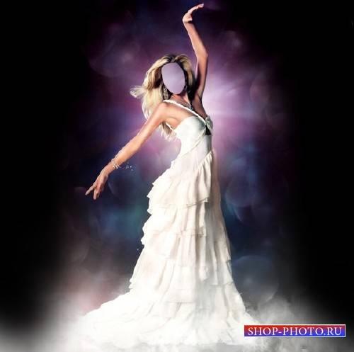 Шаблон для девушек - Грациозная девушка в шикарном платье белом