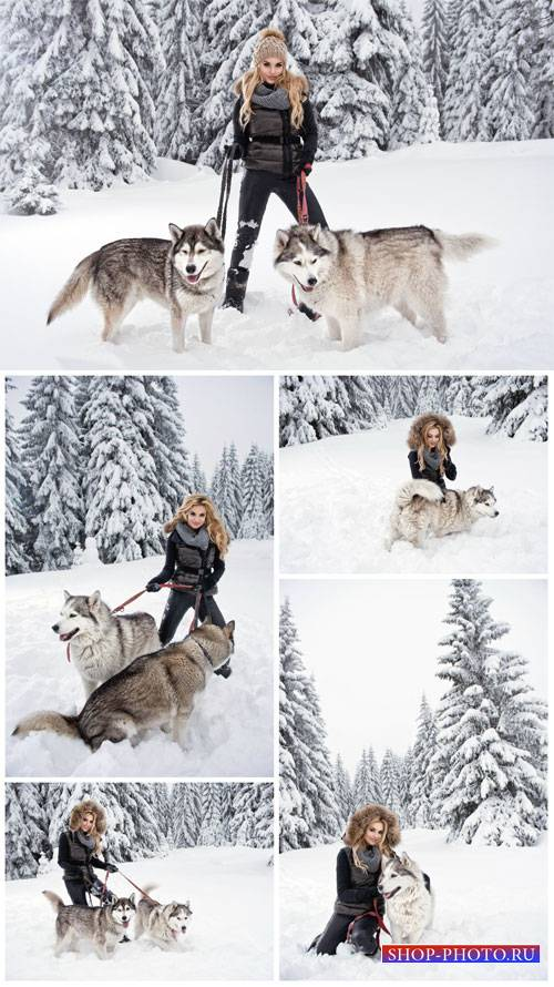 Girl with dogs, winter nature - stock photos