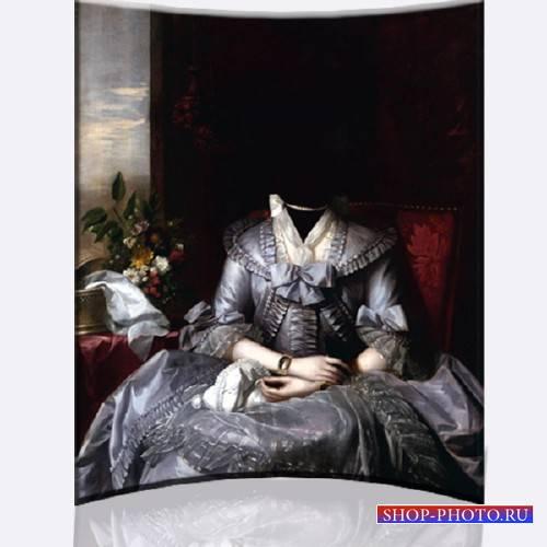 Шаблон psd - Женское стародавнее платье барышни
