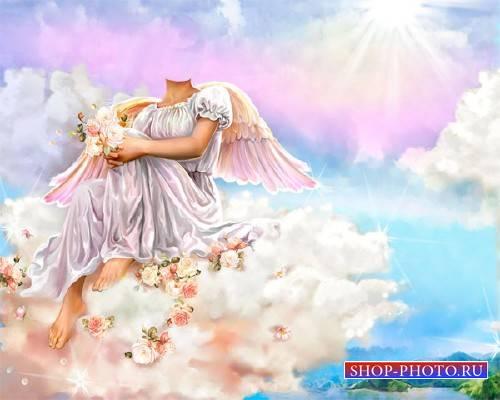 Шаблон для Photoshop - Ангел на облаке с цветочками