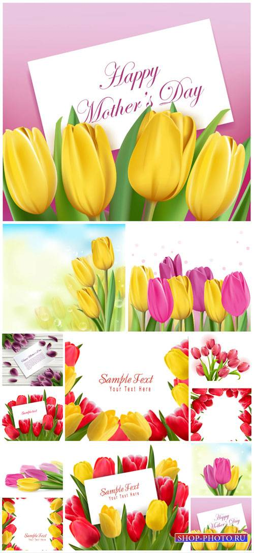 Tulips, women's day, vector background